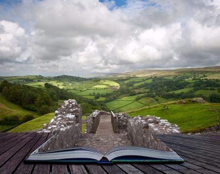 魔法の本のページでの夏の風景の創造的な合成画像