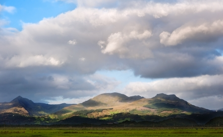 Stunning landscape image panorama view of Snowdon and mountain ranges in National Paark in Wales at sunset Stock Photo - 15778929