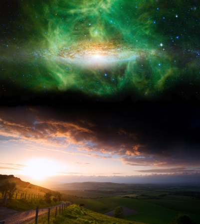 interstellar: Countryside sunset landscape with planets in night sky Elements of this image furnished by NASA.gov