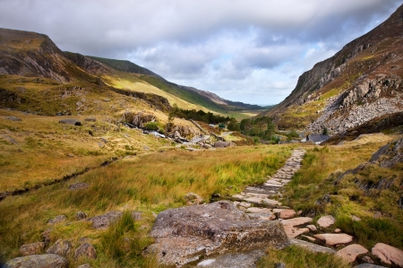 nant: View along Nant Francon mountain valley in Snowdonia National Paark in Wales