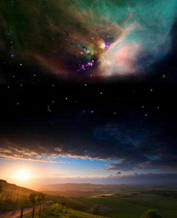 Countryside sunset landscape with planets in night sky Elements of this image furnished