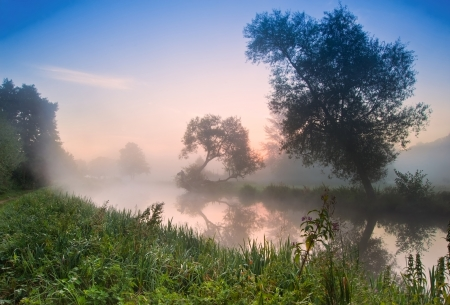 opaque: Landscape viiew across foggy river at sunrise