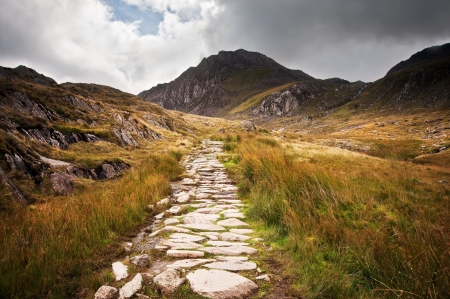 Footpath in Snowdonia National Paark in Wales along to Glyder Fawr mountain Stock Photo - 16057437