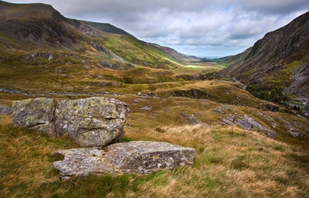 View along Nant Francon mountain valley in Snowdonia National Park in Wales Stock Photo - 16326189