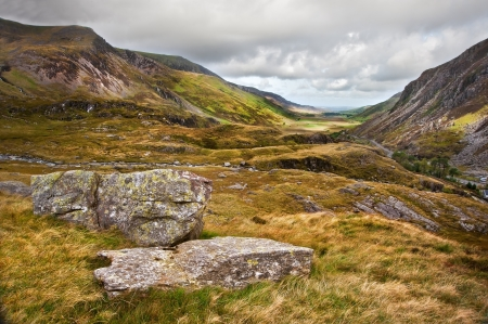 View along Nant Francon mountain valley in Snowdonia National Park in Wales Stock Photo - 16525414