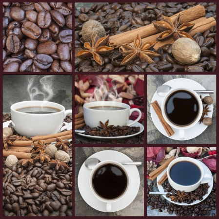 Compilation of coffee related imagery giving warm cosy feel photo