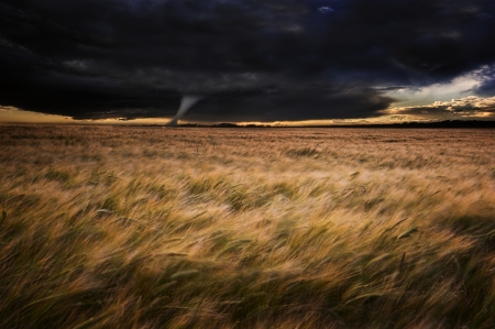 Dark stormy skies over Summer landscape with twister tornado touching down photo