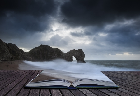 Creative concept image of Durdle Door in pages of book Stock Photo - 17559746