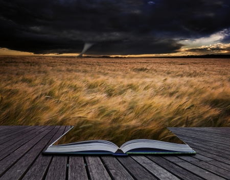 Creative concept image of stormy skies over Summer landscape in pages of book Stock Photo - 17559741