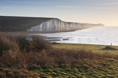 seven sisters: View from Seaford Head towards Seven Sisters at sunrise Stock Photo
