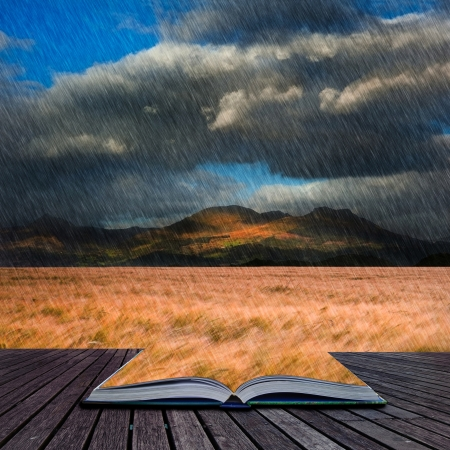 gust: Creative concept image of Mountain range landscape with field of wheat in rain in pages of book