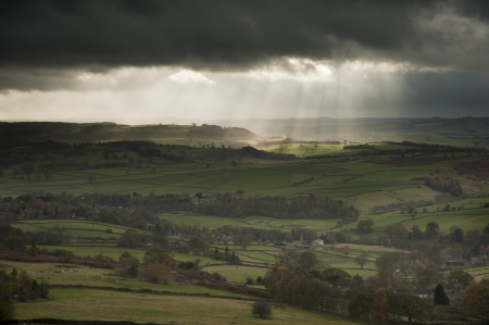 Sunbeams over Big Moor in Peak District National Park in Autumn photo