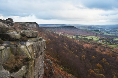 View along Curbar Edge towards Froggatt's Edge in background, in Peak District National Park photo
