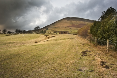 View of Kinder Scout from Edale footpath in Peak District National Park photo