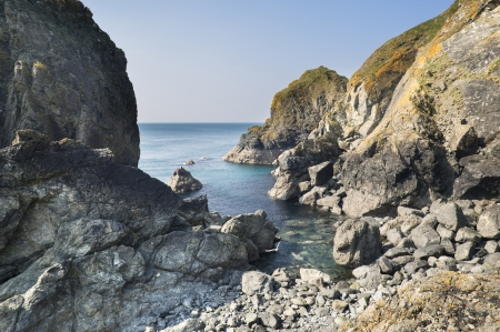 sunlgiht: Beautiful secluded cove on bright sunny day Stock Photo
