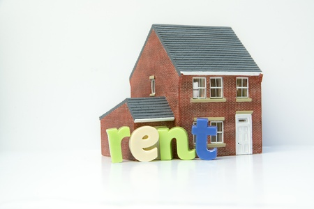 Rent lease house concept with model house and letters photo