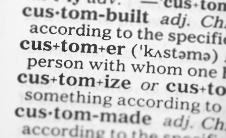 dictionary definition: Macro image of dictionary definition of word customer