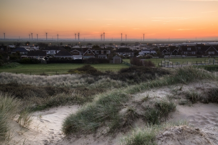 Rye wind farm viewed from Camber Sands on English South Coast photo
