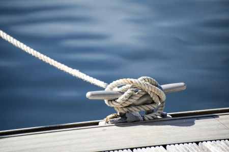 stanchion: Yacht rope cleat detail image