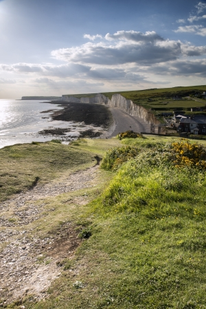 seven sisters: Seven Sisters from Birling Gap Summer evening  Stock Photo