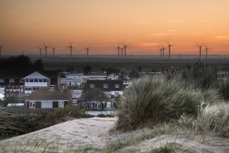 Rye wind farm landscape viewed from Camber Sands  photo