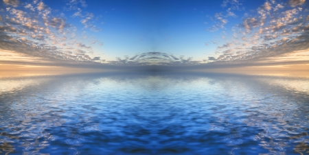 Stunning sky reflected in calm sea waters photo