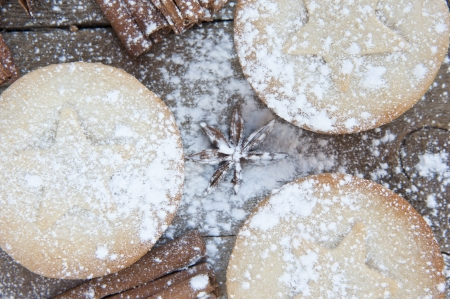 Nice warm cosy image of Christmas foods on grunge wooden background Stock Photo - 22676352
