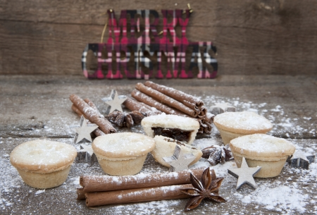 Nice warm cosy image of Christmas foods on grunge wooden background Stock Photo - 22821908