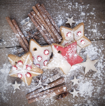 Nice warm cosy image of Christmas foods on grunge wooden background Stock Photo - 22821909