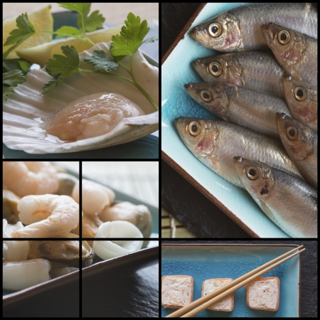 compilation: Collage compilation of various fish and seafood images with a raw theme Stock Photo