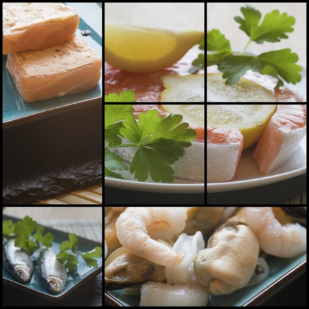 Collage compilation of various fish and seafood images with a raw theme photo