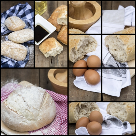 compilation: Collage compilation of various stages of bread making