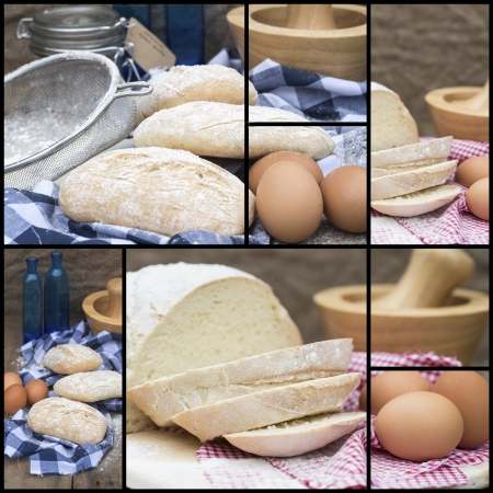Collage compilation of various stages of bread making photo