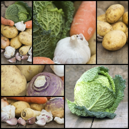 Collage compilation of various Autumnal warming food images Stock Photo