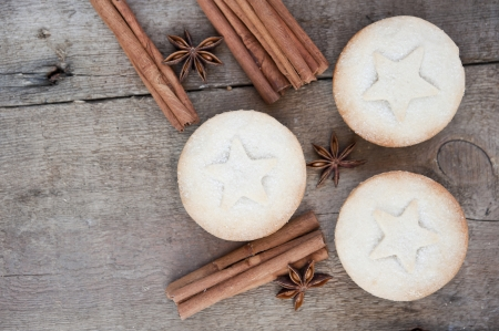 Nice warm cosy image of Christmas foods on grunge wooden background Stock Photo - 22985197