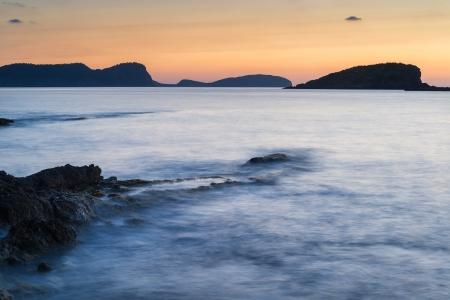 inlet bay: Dawn sunrise landscape over beautiful rocky coastline in Mediterranean Sea