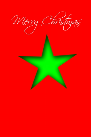 Christmas illustration in bright red and green for use as card background illustration