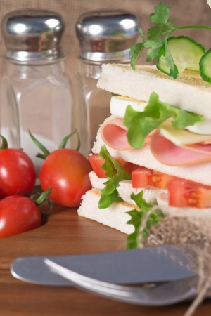 rustic kitchen: Rustic kitchen setting for fresh club sandwich