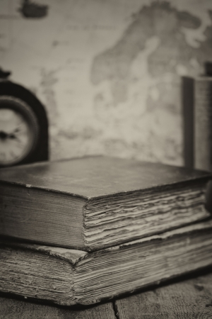 Antique books in retro syle effect setting photo