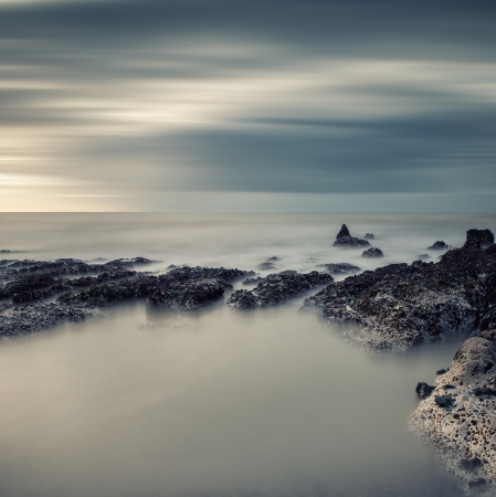 cross processed: Cross processed vintage style long exposure sea landscape