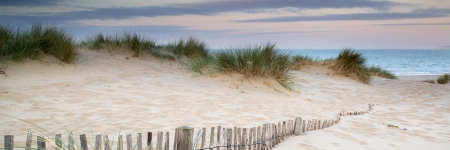 Panorama landscape of sand dunes system on beach at sunrise photo
