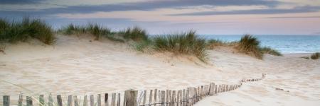 Panorama-Landschaft von Sanddünen System auf Strand am Sonnenaufgang Standard-Bild