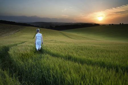 niños caminando: Paisaje niño caminando a través de campo de cultivo al atardecer
