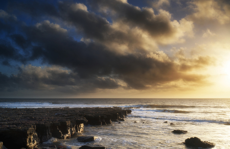 Beautiful sea landscape image during stunning sunset