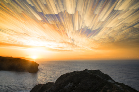 lapse: Unique time lapse stack sunrise landscape over rocky coastline