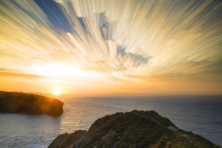 time lapse: Unique time lapse stack sunrise landscape over rocky coastline