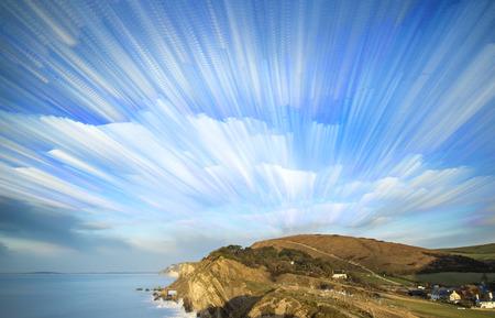Unique time lapse stack sunrise landscape over rocky coastline