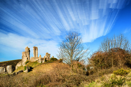 time lapse: Unique time lapse stack landscape of medieval castle and railway tracks Stock Photo