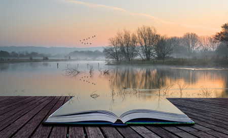 Book concept Beautiful tranquil landscape of lake in mist
