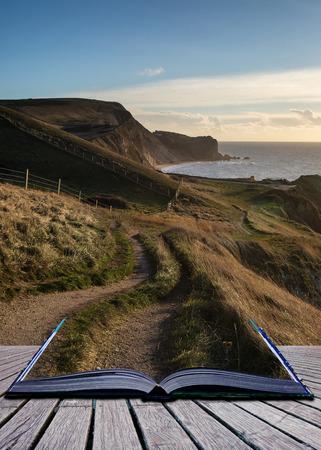 storytelling: Book concept Coastal path landscace at sunrise on Jurassic Coast England
